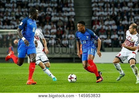 BORISOV, BELARUS - SEPTEMBER 2016 : France national football team in match of World Cup Qual. UEFA Group A. between Belarus and France at the Borisov-Arena on September 6, 2016 in Borisov.