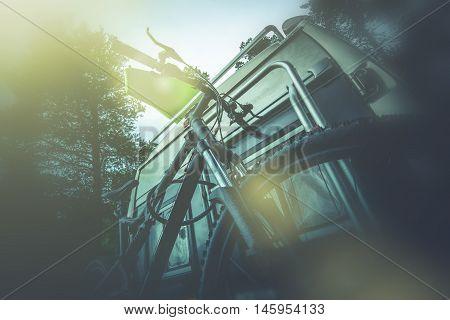 Camper Bike on the RV Rack. Taking Bike on Camper Trip. poster