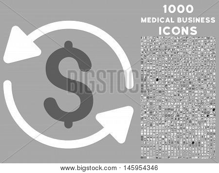 Money Turnover vector bicolor icon with 1000 medical business icons. Set style is flat pictograms, dark gray and white colors, silver background.