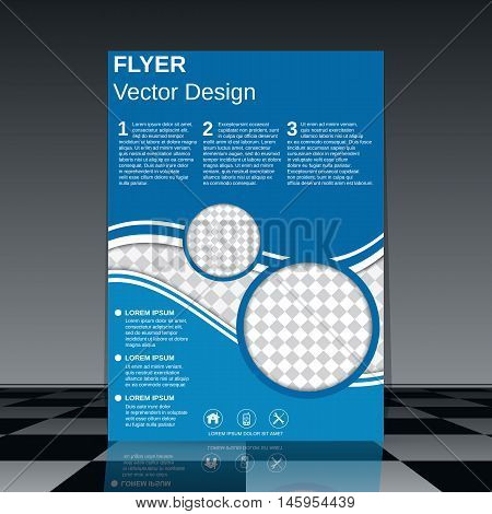 Professional business flyer with blue decorative elements vector design template