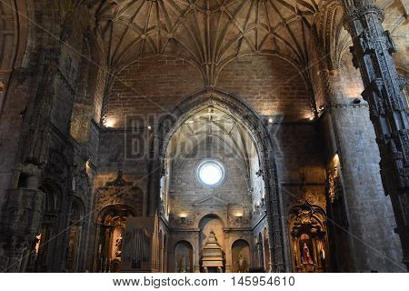 LISBON, PORTUGAL - AUG 21: The chapel at Jeronimos Monastery at Belem in Lisbon, Portugal, as seen on Aug 21, 2016. The monastery was classified a UNESCO World Heritage Site.