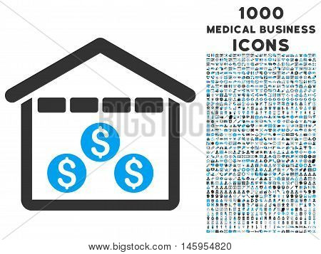 Money Depository vector bicolor icon with 1000 medical business icons. Set style is flat pictograms, blue and gray colors, white background.
