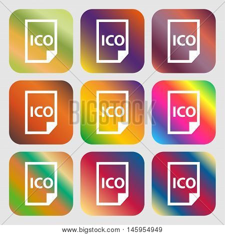 File Ico Icon . Nine Buttons With Bright Gradients For Beautiful Design. Vector