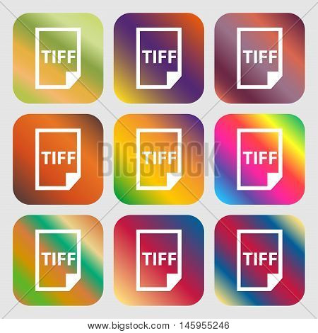 Tiff Icon. . Nine Buttons With Bright Gradients For Beautiful Design. Vector