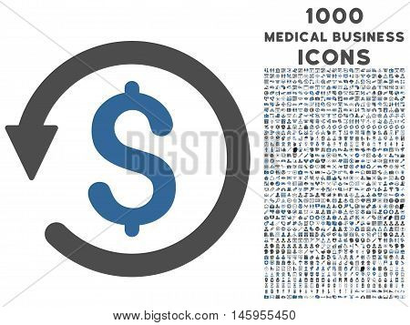 Chargeback vector bicolor icon with 1000 medical business icons. Set style is flat pictograms, cobalt and gray colors, white background.