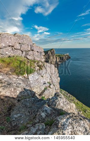 Glendale's Lighhouse on Cliffs in the Isle of Skye