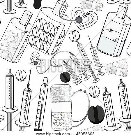 Seamless Pattern Coloring Medical Stethoscope, Thermometer, Syringe, A Tablet. Vector Illustration