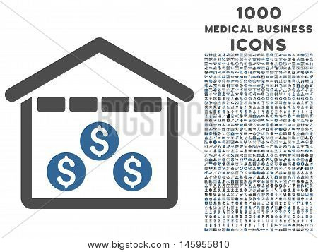 Money Depository vector bicolor icon with 1000 medical business icons. Set style is flat pictograms, cobalt and gray colors, white background.