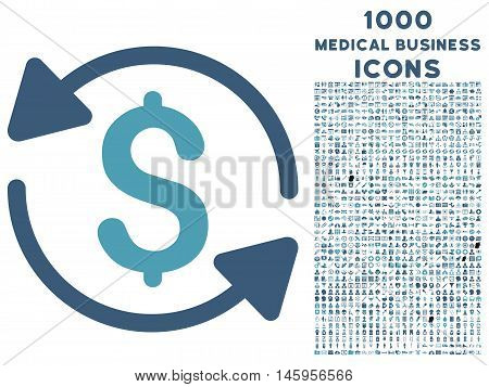 Money Turnover vector bicolor icon with 1000 medical business icons. Set style is flat pictograms, cyan and blue colors, white background.