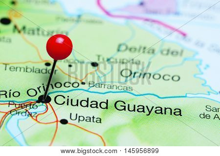 Ciudad Guayana pinned on a map of Venezuela