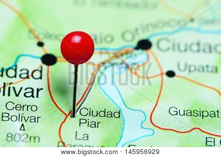 Ciudad Piar pinned on a map of Venezuela