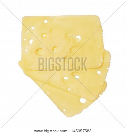 Three cheese slices with holes isolated on white background. Top view
