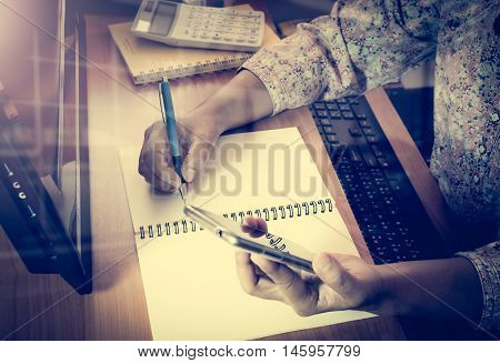 Hands Of Woman Working On Office Desk