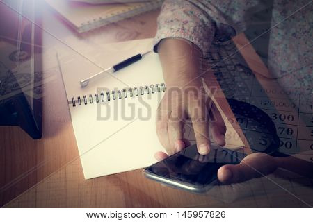 Hands Of Business Woman Touching Smart Phone Screen