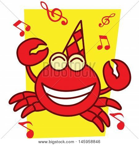 Crab with music illustration vector art design