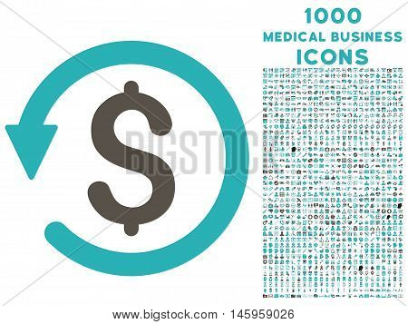 Chargeback vector bicolor icon with 1000 medical business icons. Set style is flat pictograms, grey and cyan colors, white background.