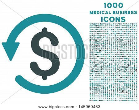 Chargeback vector bicolor icon with 1000 medical business icons. Set style is flat pictograms, soft blue colors, white background.