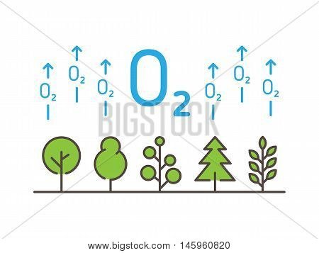 O2 Oxygen Linear Vector Illustration With Trees