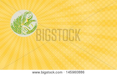 Business Card showing illustration showing Demeter Greek goddess of the harvest and agriculture who presided over grains and fertility holding wheat grain looking to the side viewed from front set inside circle done in retro style.