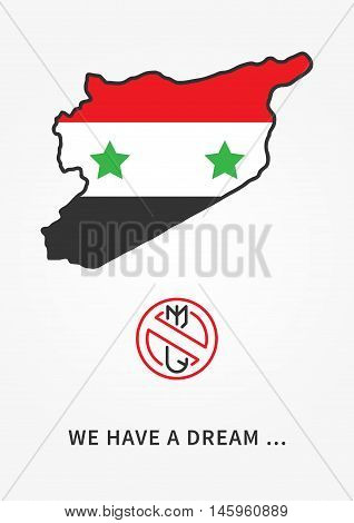 Syria Antiwar Linear Vector Illustration