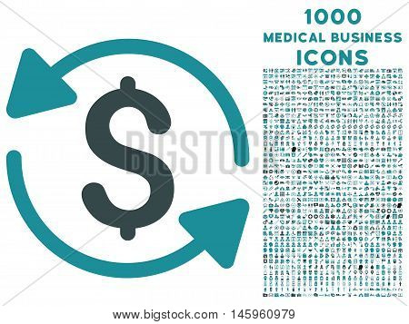Money Turnover vector bicolor icon with 1000 medical business icons. Set style is flat pictograms, soft blue colors, white background.