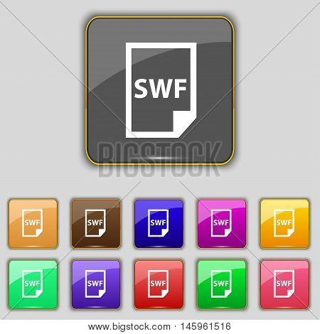 Swf File Icon Sign. Set With Eleven Colored Buttons For Your Site. Vector