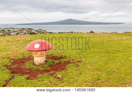 The decorated mushroom vents with Rangitoto Island background Auckland New Zealand.