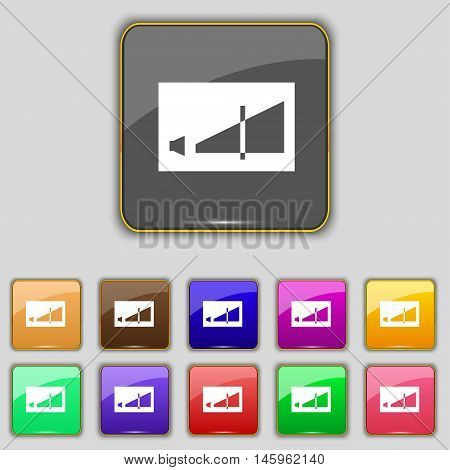 Volume Adjustment Icon Sign. Set With Eleven Colored Buttons For Your Site. Vector