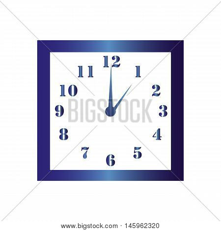 Isolated wall square clock. Vector illustration on white background. One hour. One o'clock. 1 o'clock.