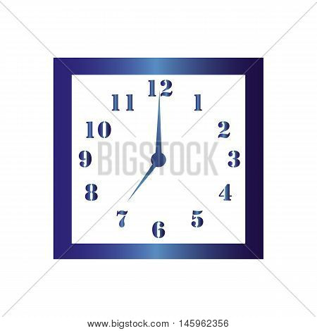 Isolated wall square clock. Vector illustration on white background.Seven hours. Seven o'clock. 7 o'clock