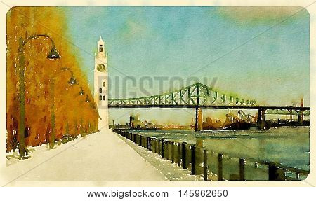 Digital watercolour of Clock tower and Jacques Cartier bridge during winter in the old port, Montreal, Canada