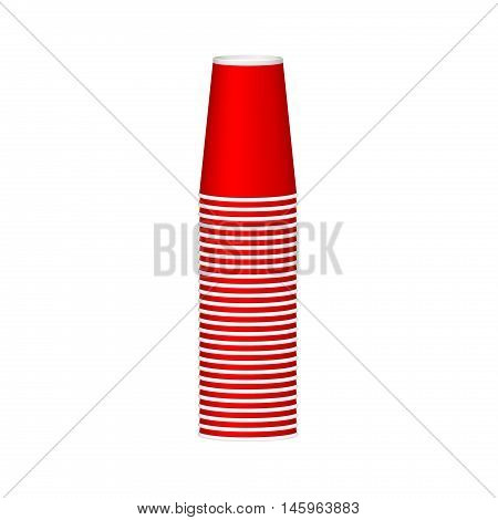 Stack of cups in red design on white background