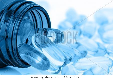 Blue Tone Of Soft Gelatin Capsule.
