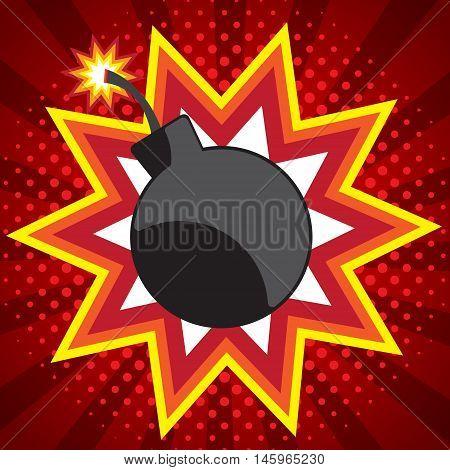bomb pop art comic book background vector illustration