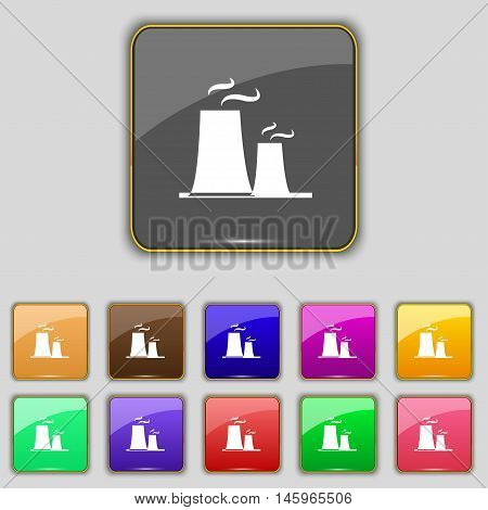 Atomic Power Station Icon Sign. Set With Eleven Colored Buttons For Your Site. Vector