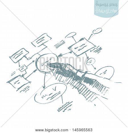 Man explaining plan strategy. Business plan, brainstorm. Concept vector illustration, sketch