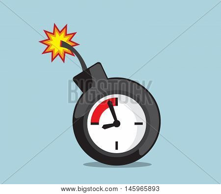time bomb with deadline clock vector illustration