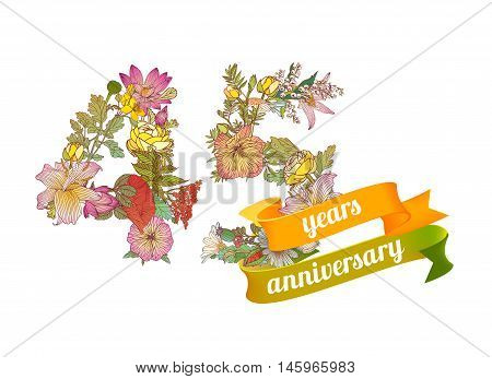 forty five (10) years anniversary sign of floral digits