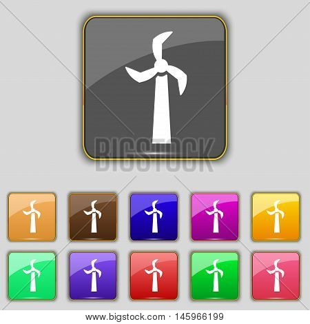Windmill Icon Sign. Set With Eleven Colored Buttons For Your Site. Vector
