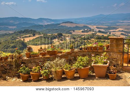 Typical Tuscan View and Balcony Gardening in the hills