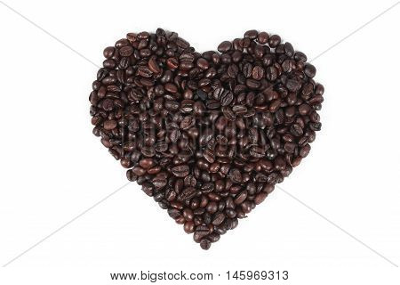 Heart of coffee blean isolated on white background.