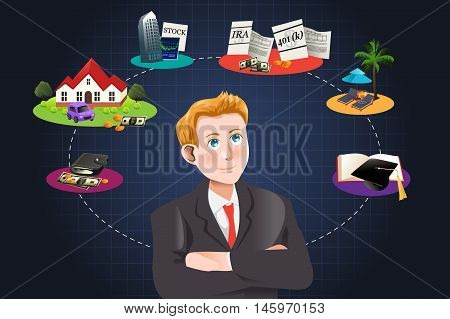 A vector illustration of a man thinking about future financial plan