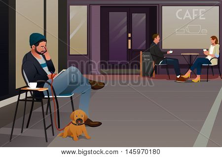 A vector illustration of a man sitting in an outdoor cafe with his dog talking on the phone