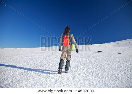 Walking Up Hiking Woman