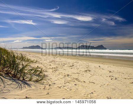 White Sand Beach With Beautiful Blue Sky At Waipu, New Zealand