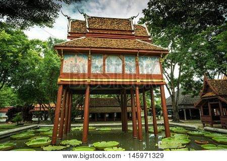 the very old wooden Buddhist scripture tower beautifully built more than fifthy years old