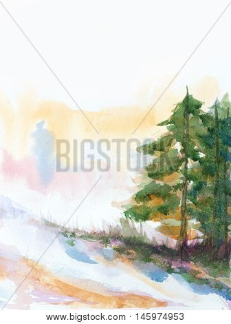 winter background with fir trees and snow. hand painted watercolor illustration