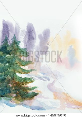 hand painted watercolor background with winter colors and a fir trees
