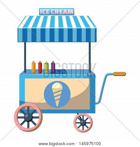 Cart with ice cream icon in cartoon style isolated on white background. Sweets symbol vector illustration