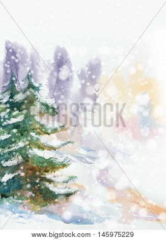 snowy winter natural background with snowflakes over fir trees. hand painted watercolor illustration